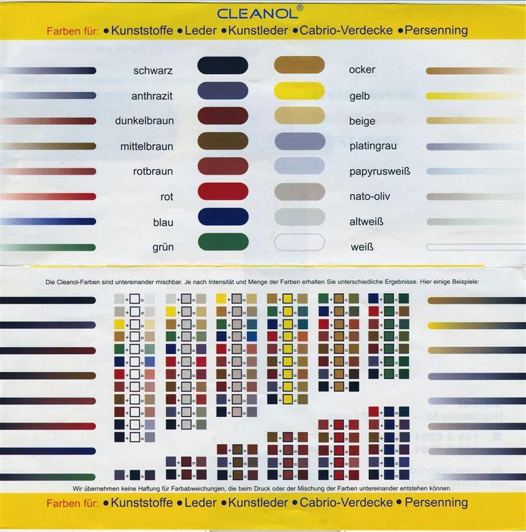 Blau Farbkarte: CAR-PT COLOR Die Bewährte Leder-Farbe 75 Ml Tube